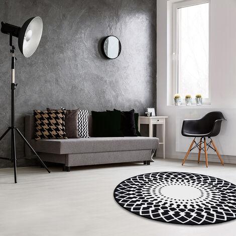 Tapis rond noir & blanc imprimé rosaces Noir 100 x 100 cm - Noir