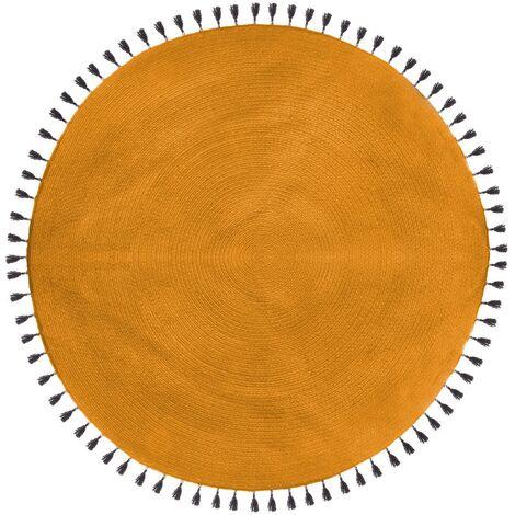 Tapis rond Pop ocre 120 cm - Jaune