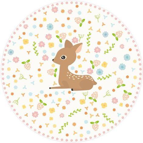 Tapis rond vinyle pour chambre fille - Biche et fleurs - Ø 99 cm