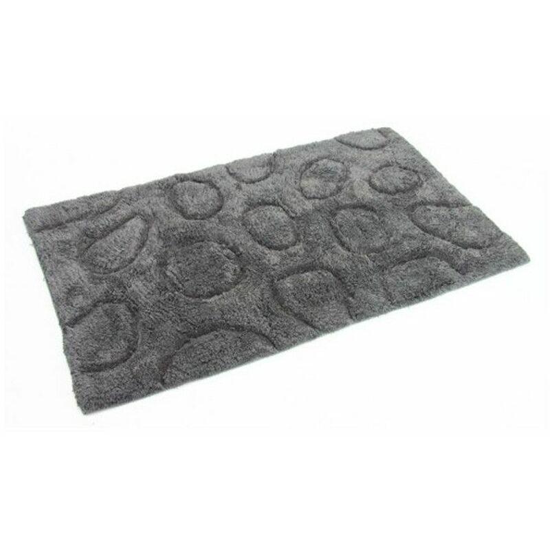 Tapis salle de bain - Décor galets - Gris - 50 x 80 cm
