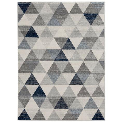 Tapis scandinave à courtes mèches géométrique Olivetto Bleu 80x150 - Bleu