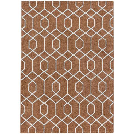 Tapis scandinave à courtes mèches graphique Huppe Orange 80x150 - Orange