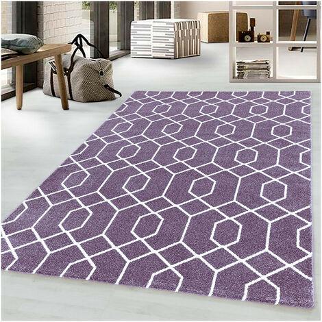 Tapis scandinave à courtes mèches graphique Huppe Violet 80x150 - Violet