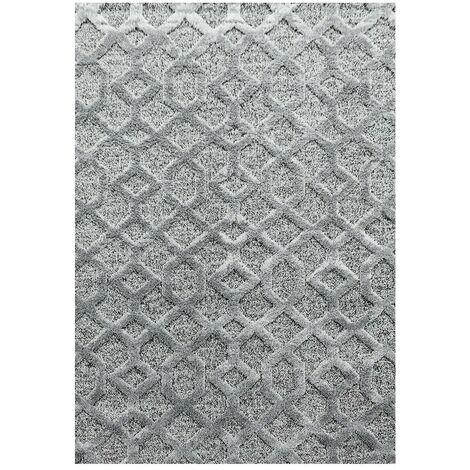 Tapis scandinave à courtes mèches rectangulaire Kiitos Gris 60x110 - Gris