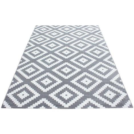 Tapis scandinave de salon rectangle Adza Gris 160x230 - Gris