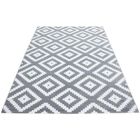 Tapis scandinave de salon rectangle Adza Gris 80x150 - Gris