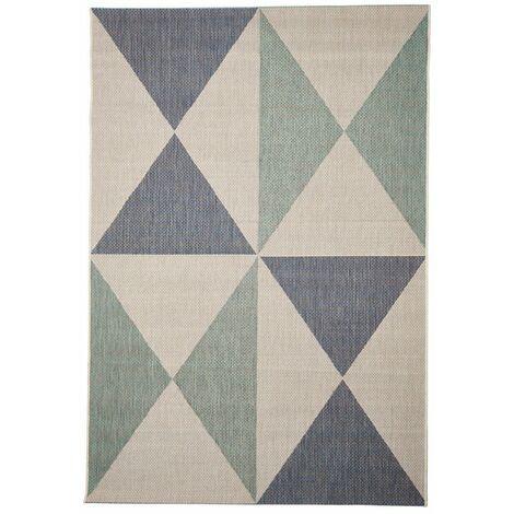 Tapis scandinave de terrasse et intérieur géométrique plat Foggia Bleu clair 135x190 - Bleu clair