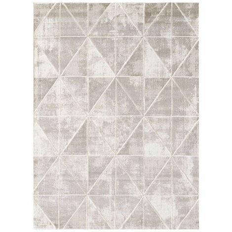 Tapis scandinave géométrique brillant pour salon Jonasse Vison 80x150 - Vison