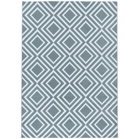 Tapis scandinave géométrique intérieur Corneille Gris 80x150 - Gris
