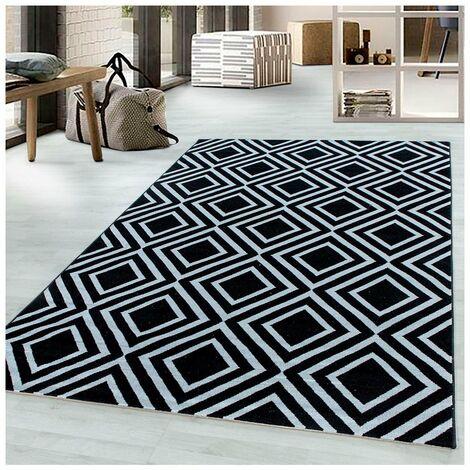 Tapis scandinave géométrique intérieur Corneille Noir 80x150 - Noir