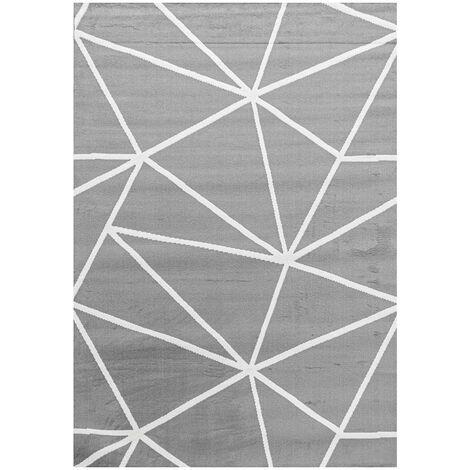 Tapis scandinave graphique gris pour salon Bouvreuil Gris 80x150 - Gris