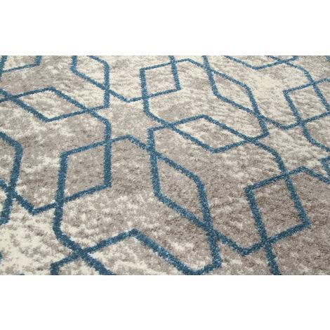 Tapis scandinave graphique rectangle pour salon Exeter Bleu 160x230 - Bleu