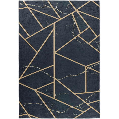 Tapis scandinave noir lavable en machine plat graphique Malines Noir 80x150 - Noir