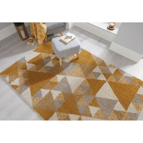 Tapis scandinave rectangle géométrique intérieur Nuru Jaune 120x170 - Jaune