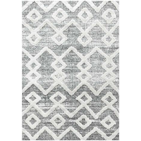Tapis scandinave rectangulaire à courtes mèches Tori Gris 60x110 - Gris