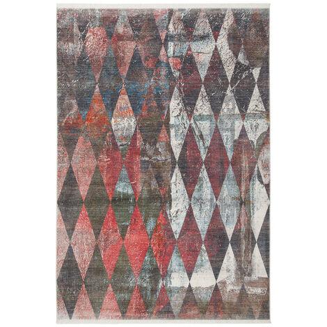 Tapis scandinave tissé polyester Rubico Multicolore 80x235 - Multicolore