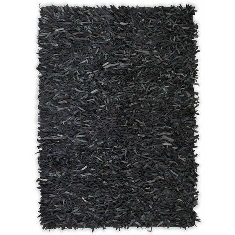 Tapis shaggy Cuir véritable 160 x 230 cm Gris - gris