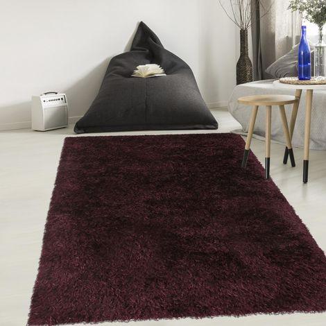 Tapis shaggy poils long 140x140 rond cm Rond MALAIDORY Gris Salon Tufté main adapté au chauffage par le sol