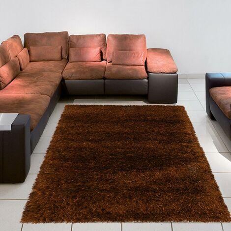 Tapis shaggy poils long 140x140 rond cm Rond SHAGGY MELANGE Marron Chambre Tufté main adapté au chauffage par le sol
