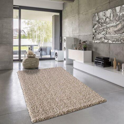 Tapis shaggy poils long cm Rectangulaire SHAGGY SIMPLE Beige Salon adapté au chauffage par le sol