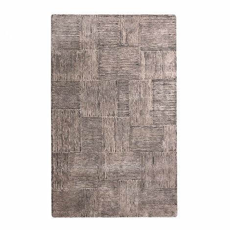 TAPIS taupe/noir 160x230 laine - TARA - Taupe