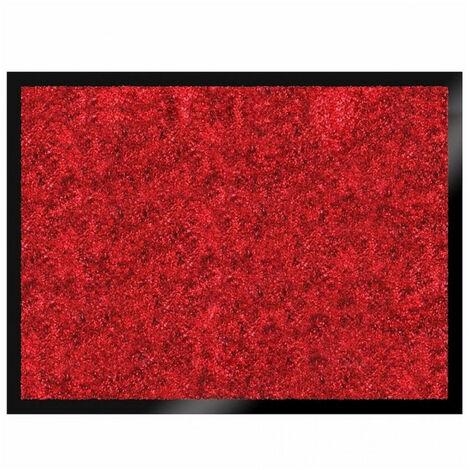 Tapis ultra absorbant effet velours Soft rouge 60x80cm