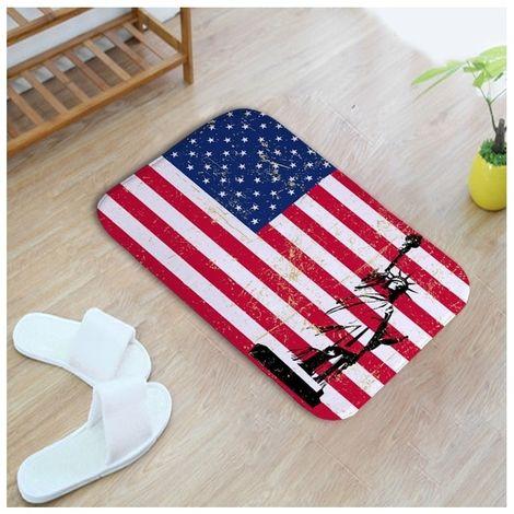 Tapis US Flag Pattern Rectangulaire Salle De Bains Salon Chambre Porte Anti-dérapant De Pied Tapis, Taille: 40cm x 60cm