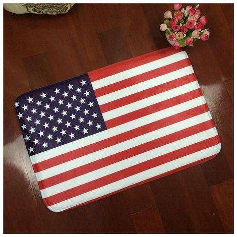 Tapis US Flag Pattern Rectangulaire Salle De Bains Salon Chambre Porte Flanelle Anti-dérapant De Pied Tapis, Taille: 50cm x 80cm