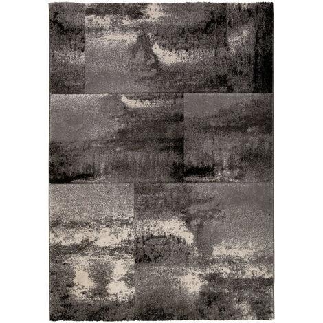 Tapis vintage rectangle en polypropylène Sanam Argenté 60x110 - Argenté