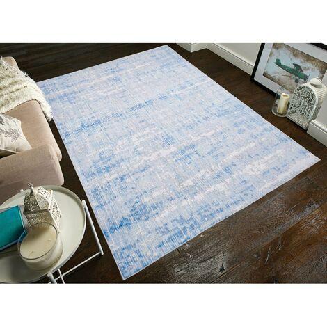 Tapis vintage rectangle rayé Sassari Bleu clair 160x230