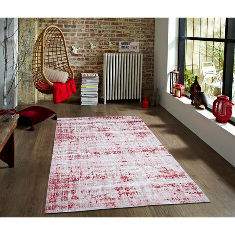 Tapis vintage rectangle rayé Sassari Bordeaux 160x230