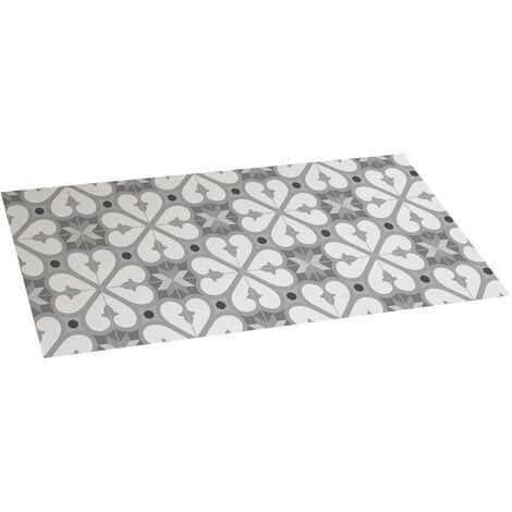 Tapis vinyle 50 x 110 cm avec fond antidérapant gris déco motif faïences AP610