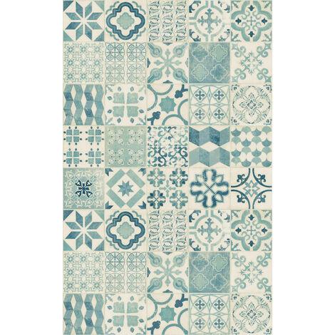 """main image of """"Tapis vinyle - Carreaux de ciment bleu"""""""