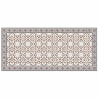 Tapis vinyle motif mosaïque fleur - L 109 x l 50 cm - Marron