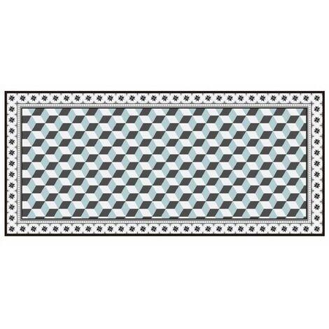 Tapis vinyle motif mosaïque illusion d'optique - L 109 x l 50 cm