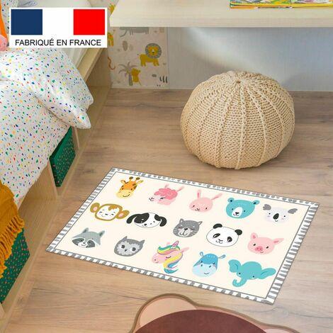 Tapis de jeu en vinyle Tarkett 49,5x83 pour chambre d'enfant - haute qualit� non toxique - motif t�tes d'animaux