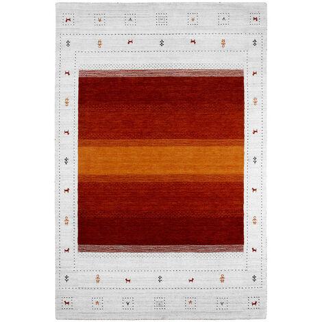 Tapis viscose et laine ethnique Rush Multicolore 140x200 - Multicolore