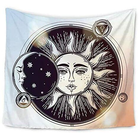 Tapisserie murale à suspendre avec motif carte de tarot de la Lune, Sun and Moon Tapestry Style 4, 130x153cm