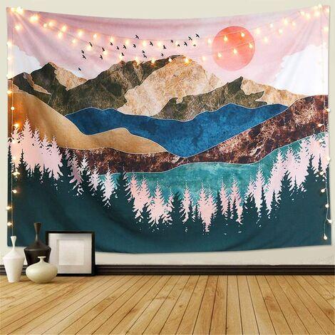 Tapisserie Murale Coucher de Soleil en Forme d'arbre de la forêt 230x150