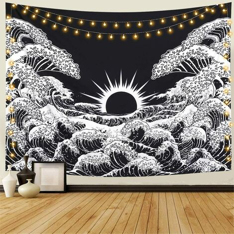 Tapisserie murale indienne Mandala Hippie Bohémien Oriental Tapisserie Bleu clair Fleur Tapestry Psychedelic Style Boho Tenture décorative Couvre-lit