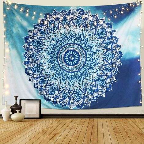 Tapisserie Murale Mandala Hippie Indienne Bohème Tapisserie Bleu Fleur Psychédéliqu Tapisserie Tenture Murale Tapis Mural Tapestry (M / 148x130cm)