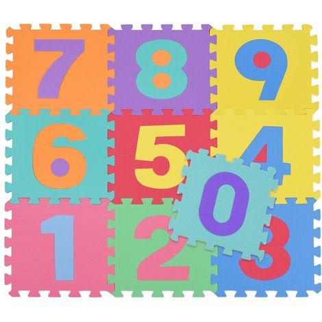Tappetino Tappeto Puzzle Maxi Numeri Colorati Gioco Bambino 10pz 30x30 Gomma EVA