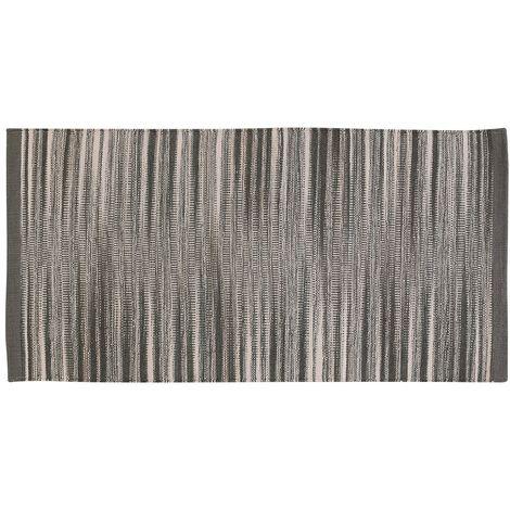 Tappeto 100% Cotone Da 60x120 Cm Color Grigio Per Bagno O Lavanderia
