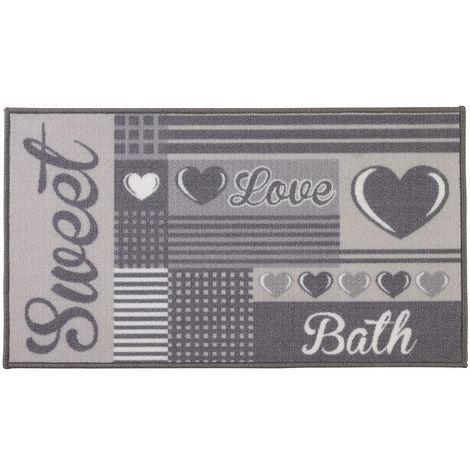 Tappeto Bagno Antiscivolo in Nylon Grigio 60 x 100 cm Lavabile e Impermeabile