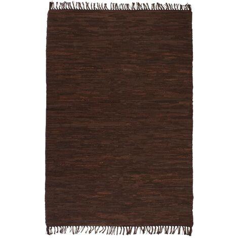 Tappeto Chindi Tessuto a Mano in Pelle 160x230 cm Marrone