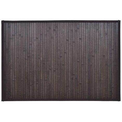 Tappeto da bagno in Bamboo 60 x 90 cm Marrone scuro
