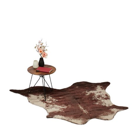Tappeto Finta Pelliccia, Tappetino dall'Aspetto come Pelle di Mucca, Rustico, LxP: 150x125 cm, Marrone