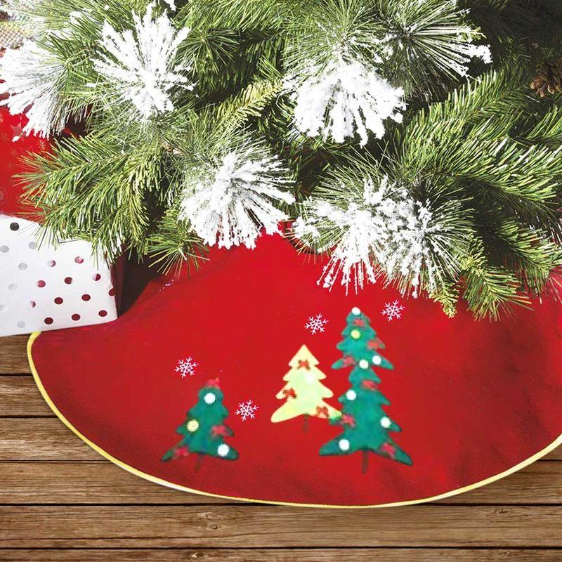 Alberi Di Natale Decorati Foto.Tappeto Gonna Copertura Base Albero Di Natale 100cm Rosso Decorazioni Natalizie