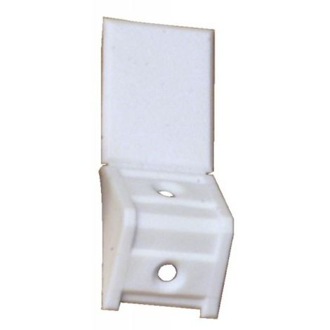 Taquets Systemtac Classic - en polypropylène, avec couvercle prémonté, blanc, équerre simple, en boîte de 100 pièces - Blanc