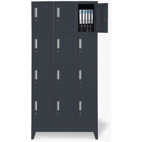 Taquillas con 12 compartimentos metálicos 90x45 H180 para vestuario con cerradura KRAKATOA
